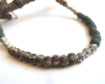 Anklet, Rustic Style Beaded Anklet, Charcoal and Opaque Glass Bead Ankle Bracelet, Silver & Bead Mix Anklet, Earthy Style Dark Beaded Anklet