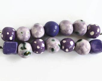 Lavender, Lilac, Mauve, Purple African beads, clay beads, Handmade Ceramic Beads,  beads, Artisan Beads, 2 bead strands, 14 beads,  handmade