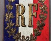 Large metal flag pole banner/flag shield for the French Republic ,République Française.