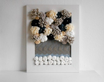 Fabric flowers 3d wall art white wood frame nordic design