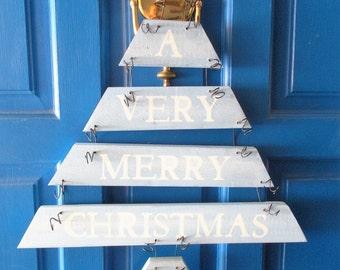 Christmas Door Wreath, Plank Art, Christmas Door Hanger, Holiday Decor, Christmas Tree, Holiday Wreath, Christmas Sign, Christmas Wreath,