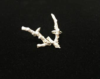Sterling silver branch cuff links