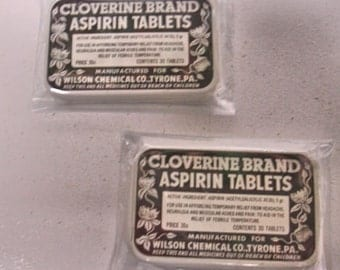 2 Vintage Cloverine Aspirin Tins 1940s Collectro Tins Medical Tins Drug Store Tins