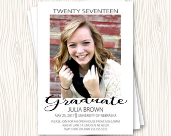 Custom High School or College Graduation Announcement Party Open House Invitation