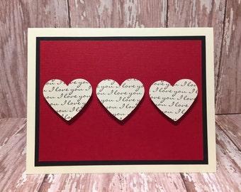i love you card, love card, valentines day card, heart card, romantic card, hearts of love, wedding card, anniversary card