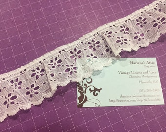 1 yard of 1 3/4 inch White Ruffled Chantilly lace trim for sewing, crafts, costume, housewares, couture by Marlenes - Item 9RR