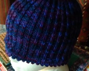 Rainbow Purple hand knitted Alpaca hat