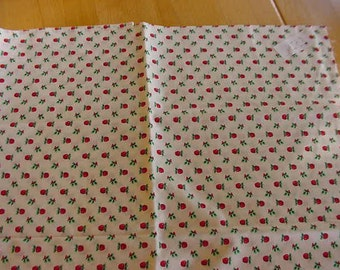 1 Yard Christmas Fabric, All Over Red Apples with Holly Leaves on White Background, VIP Cranston Print Works