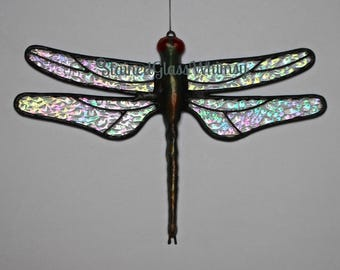 Stained Glass DRAGONFLY Suncatcher, Sparkling Crystal Ice, Clear Rainbow Iridescent Wings, USA Handmade, Iridescent Dragonfly, Firefly