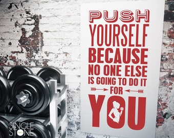 Home Gym and Fitness Wall Decal Push Yourself - Vinyl Wall Words