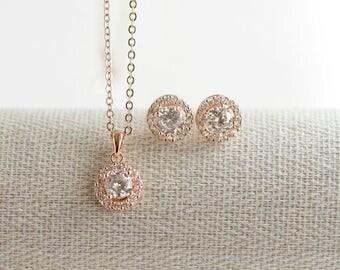Rose Gold Bridesmaid Jewelry Set, Bridesmaid Necklace, Wedding Jewelry, Halo Bridal Set, Halo Earring Studs, Halo Necklace, Bridesmaid Gift