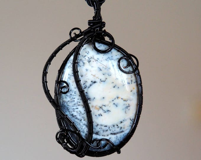 Dendrite Opal wire wrapped pendant