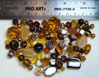 BEAD SOUP - DESTASH - browns - press glass, art glass, vintage glass, crystals, glass pearls - variety - beads - PG859