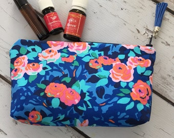 Ready to ship, Amy Butler fabric oil bag, travel bag, essential oils, Young Living, Do Terra, (holds 12-14)
