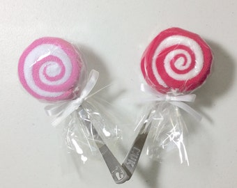 2 Dark Pink Washcloth Lollipops Baby Girl Gift Ideas