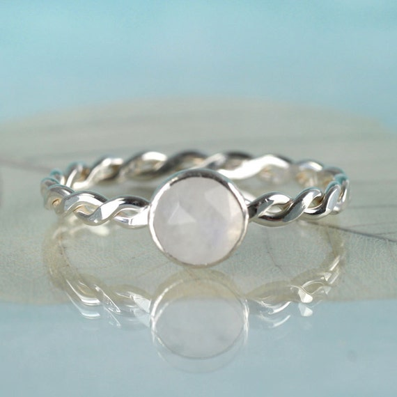 Celtic Moonstone Ring Sterling Silver Twist Ring 6mm