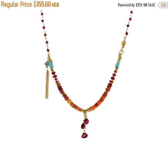 20% off. Beaded Tassel Necklace. Gold Fill or sterling silver. Mexican Fire Opal, Ruby and Apatite NM-1116