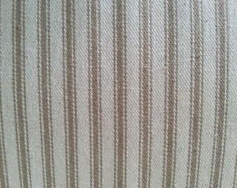 Khaki Beige Ticking Fabric - Ticking Material - French Ticking - Cotton Ticking - Pillow Ticking - Quilting Fabric - Ticking Stripe