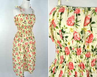 Vintage 1970's Cotton Floral Sundress - Casual Summer Dress with a rose  print - boho hippie dress - ladies size Medium