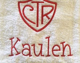 Baptism Towel, CTR Baptism Towel, Personalized Baptism Towel, Gift for Baptism,