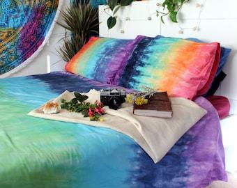Tie Dye Duvet Set - Hippie Bedding - Rainbow Bedding - Egyptian Cotton - CHAKRAS