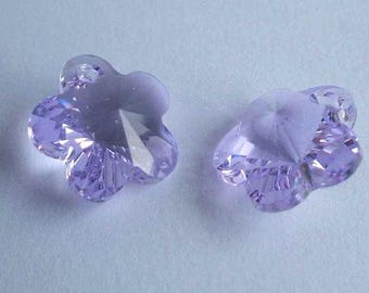 4 SWAROVSKI 6744 Flower 14mm crystal pendant VIOLET
