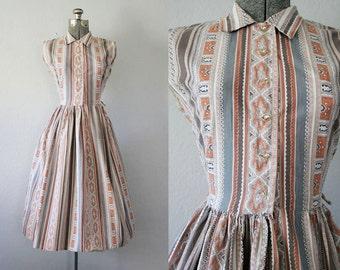 1950's Brown and Orange Day Dress / Size Medium/Large
