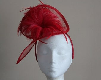 Red Sinamay and Feather Fascinator Formal Hat, on a hairband. Ideal for a wedding, the races, Kentucky Derby