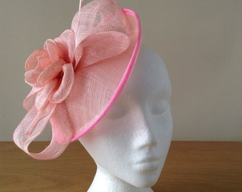Baby Pale Pink Sinamay and Feather Disc Fascinator on a clip races, weddings, Kentucky Derby, Royal Ascot, Melbourne Cup
