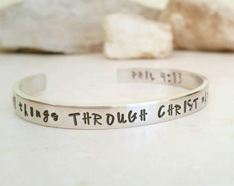 I can do all things through Christ, Personalized Bracelet, Religious Bracelet, Faith Jewelry, Phillipians, Bible Quote, Motivation Gift