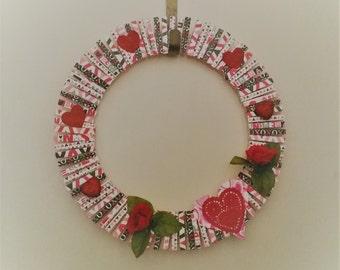 Valentines Day Wreath-Valentines Day Clothespin Wreath-Valentines Day Scrapbook Wreath-16 Inches Clothespin Valentines Wreath