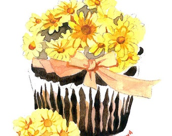 ACEO Original watercolor painting- Sweet cupcake I, Gift for her, Miniature painting, Ilustration