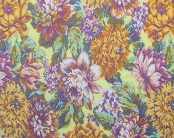Cotton Fabric / Floral Cotton Fabric / Large Floral Fabric / Cranston Print Works Floral Cotton Fabric / Yellow Floral Fabric