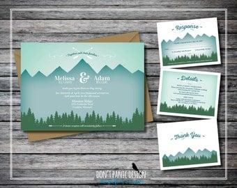 Printable Wedding Invitation Green Mountain - Nature Wedding - Tree Line Invitation, Mountain Wedding - Custom Colors