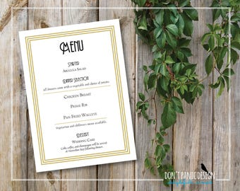 "Digital Printable Menu Card Gold Art Deco Inspired  - Dinner Menu, Wedding Menu, Retro Menu - 5"" x 7"" Event Menu Gold - Custom Colors"