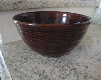 """Vintage Marcrest Bowl, Ovenproof Stoneware Brown Daisy Dot Mixing Bowl 8"""" wide x 4"""""""