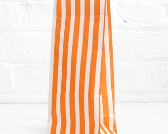 Orange Tall Striped Paper Bags