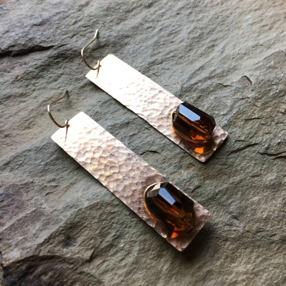 Hestia Earrings in Bronze and Whisky Quartz
