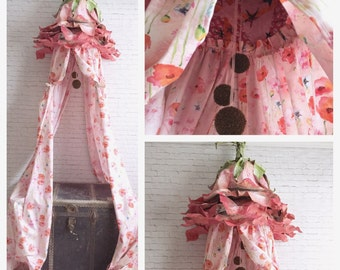 made to order Pink Petal Canopy|pink |coral|orange|canopy|flower| petal| girls room| childrens decor | tent |