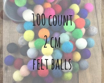 100 count - 2cm Wool Felt Balls - assorted colors