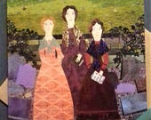 Brontë Sisters, Haworth, Naive Art, Collage, Cut Paper, English Literature, For Booklovers, Wuthering Heights, Jane Eyre, Greeting Card, Art