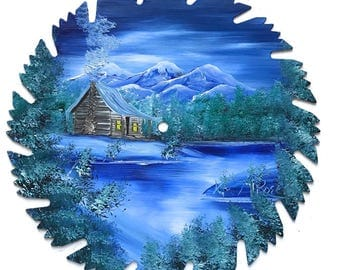 Hand Painted Saw Blade Mountain Winter Log Cabin SALE
