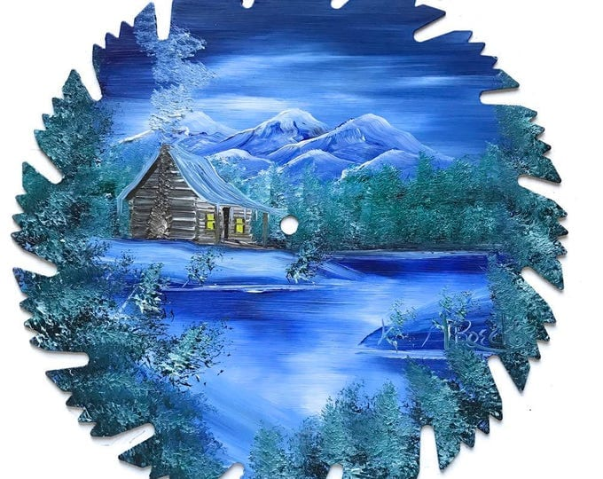 Hand Painted Saw Blade Mountain Winter Log Cabin