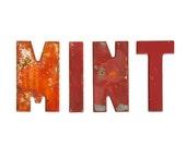 Vintage Sign / 1930's / Original Metal Mint Letters With Original Paint