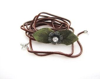 Suede leather, choker necklace, wrap bracelet, small crystal, rhinestone flower, floral vine leaf, green velvet, medium brown wedding bridal