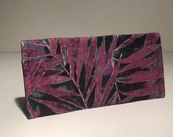 Fabric Checkbook Cover - Purple Tropical Print with Dark Purple Interior