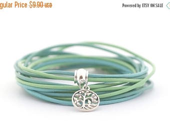 Mothers Day Tree of life Charm Yoga Bracelet, Bohemian Bracelet, Peridot Mint Blue Wrap Bracelet, Green Blue Bracelet, Minimalist Jewelry, b