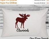 SALE Personalized Pillow Case Pillowcase Buffalo Plaid Moose Red Black Lumberjack Boy Girl Toddler Kids Children Birthday Gift Bedding