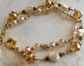 Pearl and Bead Multi Strand Gold Bracelet