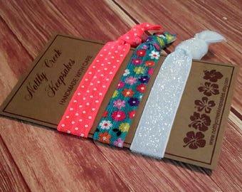 Neon Coral Polka Dot Elastic Hair Tie/ Floral & White Glitter FOE/No-Crease Hair Tie/3 Set Hair Tie/FOE Hair Ties/Ponytail Holder/Yoga Tie